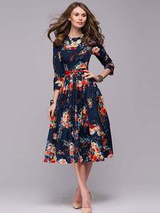 Vestido vintage floral em volta do pescoço plissado vestido longo marinho escuro