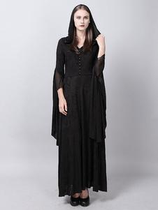 Costume Carnevale Gothic Punk Abiti Donna manica lunga con cappuccio Maxi Black Halloween Costume