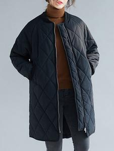 Puffer negro abrigo mujer soporte cuello acolchado burbuja escudo