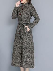 Mulheres Cinza Casaco Turndown Collar Casaco De Lã Gravata Cintura Casaco De Inverno