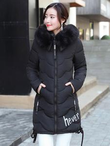 Mulheres Puffer Casaco Faux Fur Com Capuz Bolha Casaco Acolchoado Casaco De Inverno