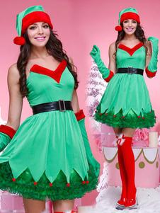 Traje de duende de Natal verde mulheres sem alças vestidos conjunto 4 peça Halloween
