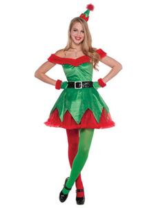 Disfraz Carnaval Disfraz de duende navideño mujer vestido con hombros descubiertos verde 4 piezas Halloween Carnaval