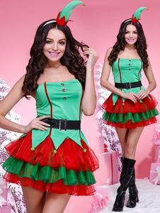 عيد الرعبعيد الميلاد العفريت زي المرأة الخضراء حمالة قصيرة فساتين الزي 4 قطعة