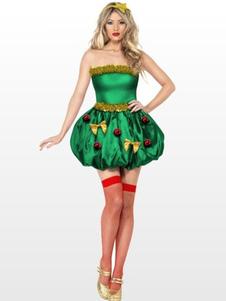 عيد الرعبعيد الميلاد العفريت زي المرأة بلا حماله ترتدى فستان أخضر قصير