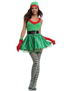 O traje dos duendes do Natal das mulheres do traje do duende do verde veste 4 partes Halloween