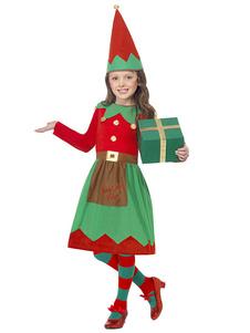 O traje do duende do Natal caçoa vestidos e o chapéu das meninas pouco jogo de 2 partes Halloween