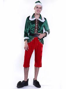 Costume Carnevale Costume da elfo di Natale da uomo Costume da adulto completo da 5 pezzi  Costume Carnevale