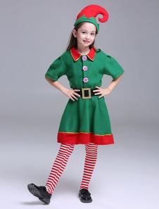 Crianças Natal Elf trajes meninas meia manga vestidos definidos 3 peça Halloween