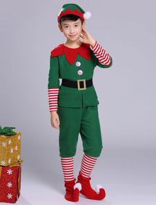 O traje do duende do Natal caçoa o equipamento verde das calças superiores 5 partes para meninos Halloween