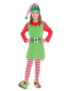 عيد الرعبعيد الميلاد العفريت زي الاطفال الفساتين الخضراء الزي 4 قطعة للفتيات الصغيرات