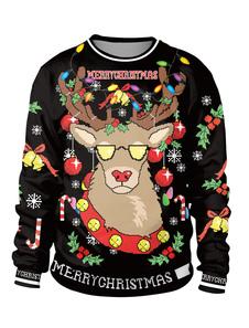 Рождественская черная толстовка с напечатанной длинным рукавом