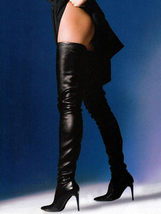 أسود الفخذ أحذية عالية أحذية النساء مثير أشار اصبع القدم فوق الركبة الأحذية2020