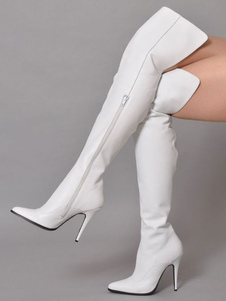 White Thigh High Boots Womens Solid Color Pointed Toe Stiletto Heel Over The Knee Boots