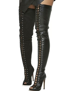 أسود الفخذ أحذية عالية المرأة مثير أحذية اللمحة تو عالية الكعب الرباط فوق الركبة الأحذية2020