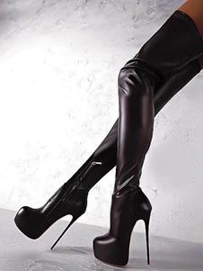 Botas Sexy Negras 2020 Botas Altas Hasta el Muslo de Mujer con Plataforma con Tacón de Aguja Botas Altas Sobre la Rodilla de Talla Extra