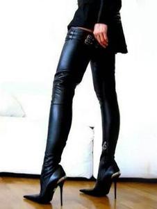 Черные черные сапоги женщин Сексуальные сапоги с острым носком
