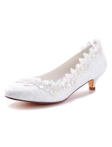 أحذية الزفاف الدانتيل العاج جولة تو الزهور مطرز هريرة كعب حذاء الزفاف أحذية الأم 2020