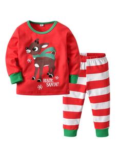 Calças de pijama de Natal crianças vermelho listrado e Top Set 2 peça Halloween