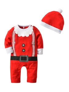 Baby Christmas Pijamas Outfits Crianças Rompers Com Chapéu Halloween