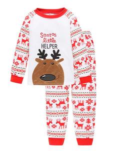 Детский рождественский пижамный костюм Санта-Клаус Брюки и топ 2 шт. Хэллоуин