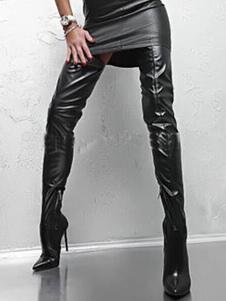 Женщины Бедро Высокие сапоги Черные сексуальные ботинки Указанный носок Высокий каблук над сапогами колена