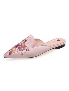 ピンクミュールシューズサテン指足指の花刺繍バックレスフラットミュール