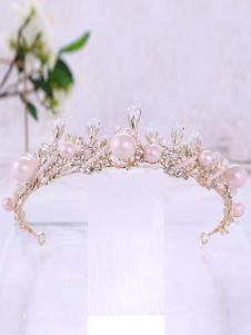 Tiara de la boda Crown Royal Vintage tocados Princesa Rhinestones perlas nupciales accesorios para el cabello