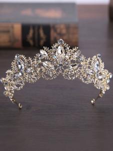 Tiara de casamento real coroa de ouro headpieces princesa strass acessórios para o cabelo de noiva vintage