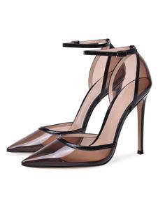 Le donne tacchi alti trasparenti scarpe a punta della caviglia pompe chiare scarpe