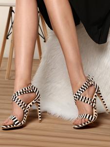Sandálias De Salto Alto Branco Aberto Toe Strap Impresso Criss Cross Sandália Sapatos Para As Mulheres