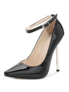 Sexy High Heels Black apontou Toe tornozelo Strap Bombas Para Mulheres