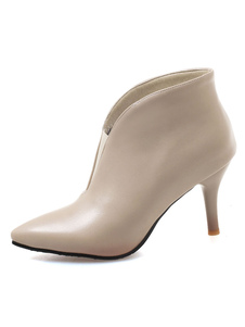Mulheres Ankle Boots Apricot Pointed Toe Slip On Winter Booties