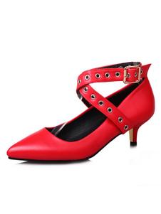 Туфли на каблуках с котенком Красный острым носом Criss Детали с пряжками