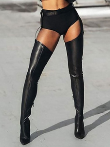 Black Sexy Thigh Pointed Toe Belted High Heel for Rave Club Boots