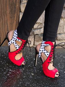 Sandálias De Salto Alto Vermelho Camurça Peep Toe Bolinhas Ata Acima Sapatos Sandália Para As Mulheres