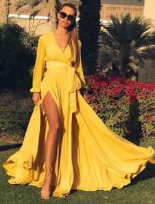 Новая мода Boho Длинные рукава Погружение V шеи Обычная Tie талии Split Maxi платье