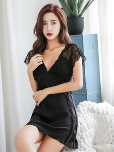 Sexy da notte da notte a maniche corte a forma di calza che modella gli indumenti da notte in pizzo per le donne