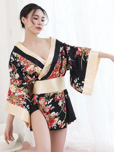 Lingerie Kimono floreale per costume sexy giapponese