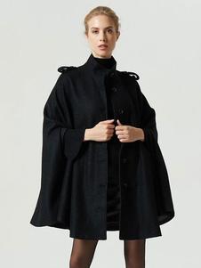 Poncho negro abrigo mujer manga larga cuello alto sobredimensionado capa de cabo