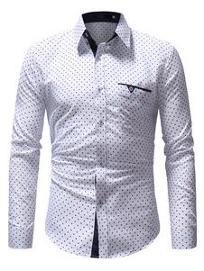 Camisa blanca de los hombres Punto de impresión de Starlet Botón abajo Camisa casual de manga larga