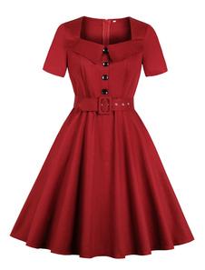Vestido Vintage Vermelho 1950s Quadrado Pescoço Manga Curta Botões Vestido Retro Plissado