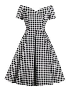 Vestido vintage preto 1950s manga curta V Neck vestido xadrez retrô