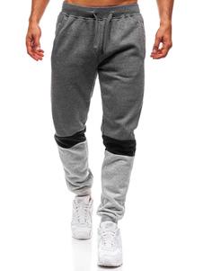Pantalón de chándal para hombre Bloque de color de algodón Tapered Fit Pantalón casual