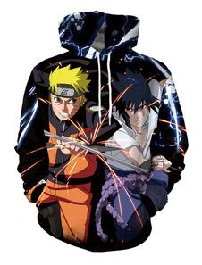 Homens Hoodie Preto Naruto E Sasuke Imprimir Manga Comprida Pulôver Ocasional Com Capuz