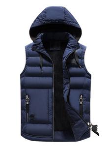 Homens acolchoados gilet com capuz puffer jaqueta de enchimento de algodão com zíper sem mangas de inverno colete acolchoado