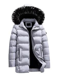 Casaco Dos Homens 2020 Parka Furry Cap Blusão Algodão Preenchimento De Pelúcia Inverno Casaco Forro Casual