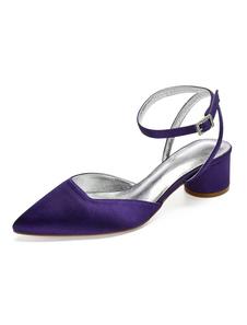 Zapatos de novia de satén 4.5cm Zapatos de Fiesta Zapatos morado de tacón gordo Zapatos de boda de puntera puntiaguada con pedrería