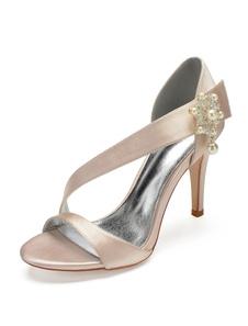 Sapatos De Casamento De Cetim Champanhe Aberto Toe Pérolas Strappy Da Dama De Honra Sapatos De Salto Alto Sapatos De Noiva