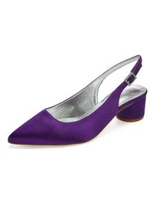 الساتان أحذية الزفاف أشار اصبع القدم أحذية خفيفة أحذية الزفاف وصيفه الشرف